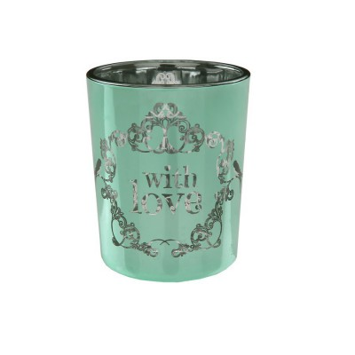 """2 Photophores vintage """"With Love"""" Turquoise et Vert"""