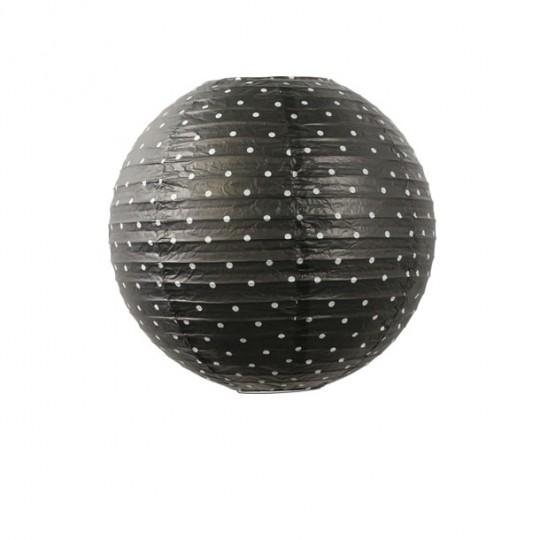boule japonaise noire d cor pois blanc 35cm. Black Bedroom Furniture Sets. Home Design Ideas