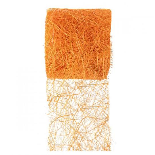 Ruban abaca orange en rouleau de 5m x 7cm.