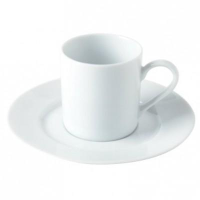 Tasse à café ronde blanche.