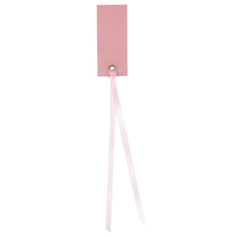 Marque place rectangle rose avec ruban - Marque place avec photo ...