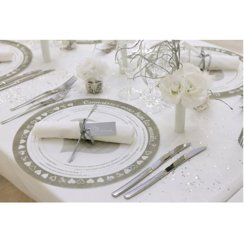 Marque place rectangle ivoire avec ruban - Marque place avec photo ...