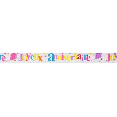 Ruban satin Joyeux Anniversaire multicolore 5m