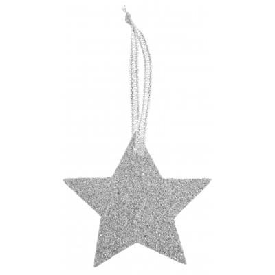 Marque place étoile argent avec ruban
