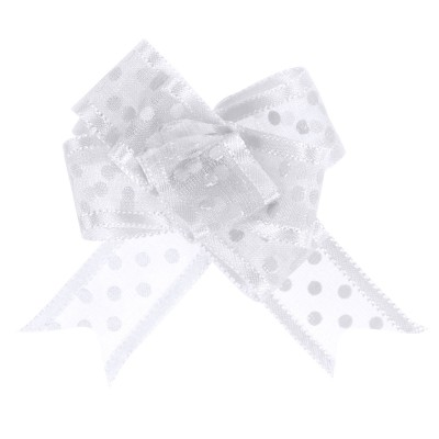Noeud à tirer blanc motif pois 16 mm