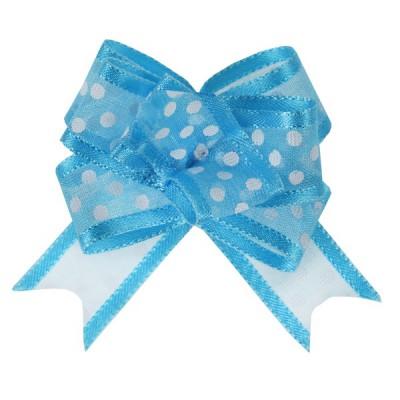Noeud à tirer bleu turquoise motif pois 16 mm
