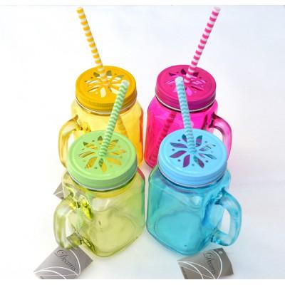 Pot Masson en verre teinté 4 couleurs disponibles.