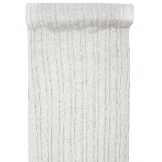 Chemin de table tricot blanc 20 CM X 3M.