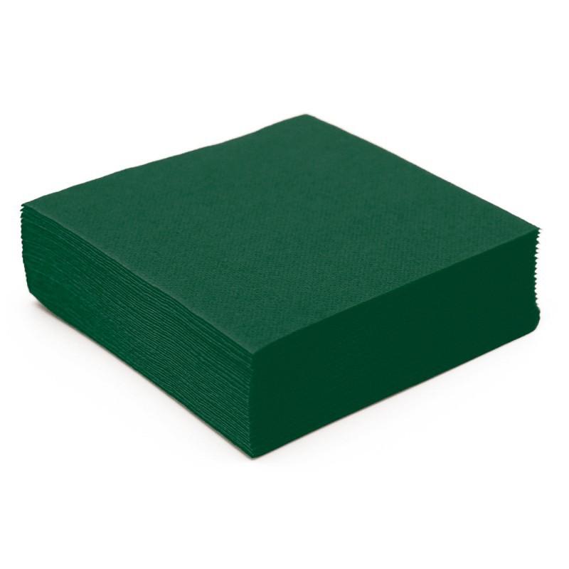 Serviette cocktail vert fonc en paquet de 50 usage unique - Serviette en papier vert fonce ...
