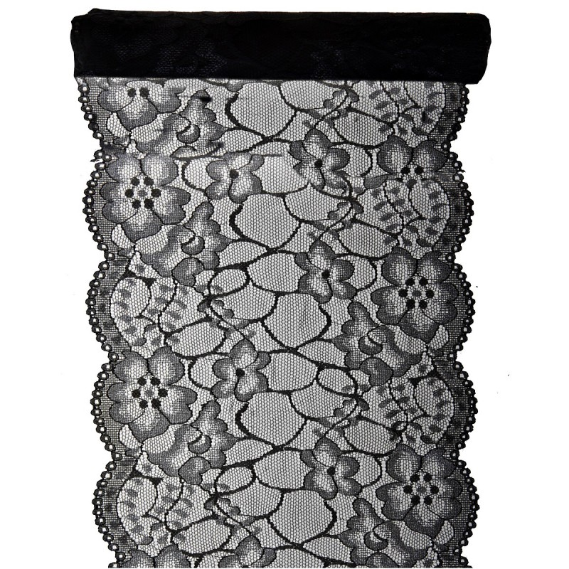 Chemin de table dentelle noir 3 m x 18 cm - Chemin de table noir et blanc ...