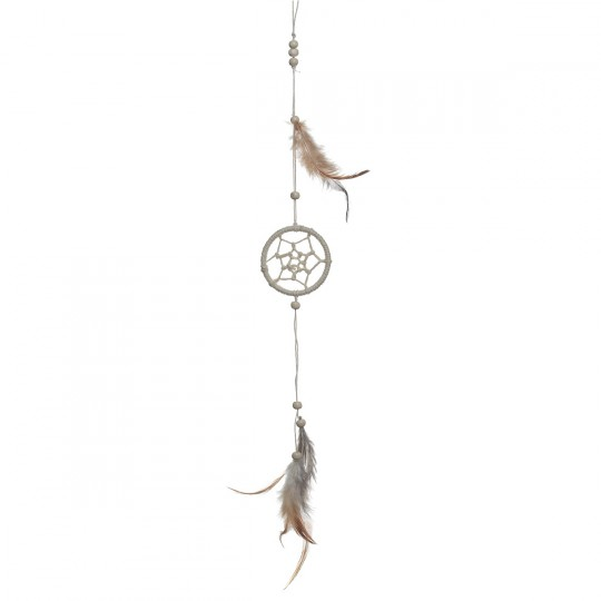 attrape r ve ou dream catcher avec plumes couleur naturel 25 cm. Black Bedroom Furniture Sets. Home Design Ideas