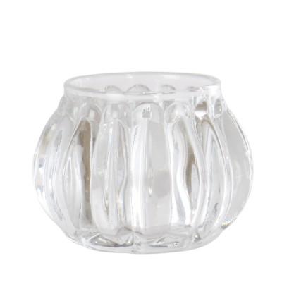 Photophore rond en verre transparent, Taille S.