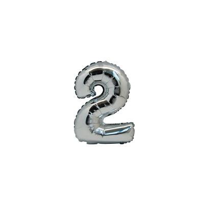 Ballon métal argent chiffre 2