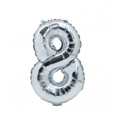 Ballon métal argent chiffre 8