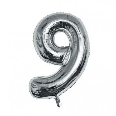 Ballon métal argent chiffre 9