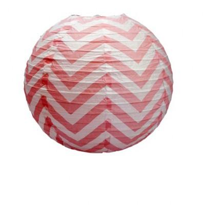 Boule japonaise décor chevron rouge