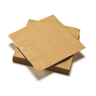 20 serviettes or jetable ouate 3 plis