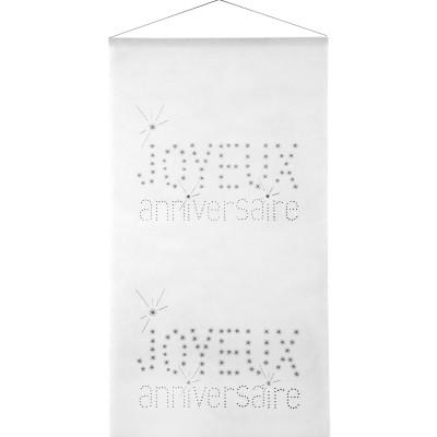 Kakémono blanc motif joyeux anniversaire