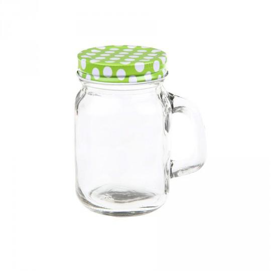 Pots en verre avec couvercle à pois vert, 10 x 7 x 12.5cm.