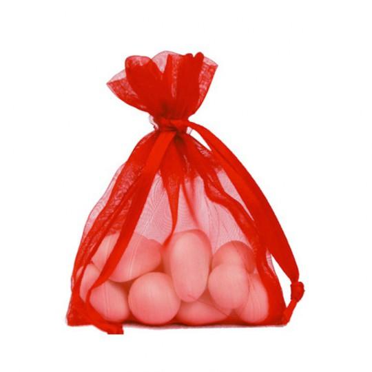 10 Sachets organza rouge 7.5 x 10 cm.