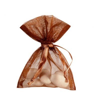 10 Sachets organza chocolat 7.5 x 10 cm.