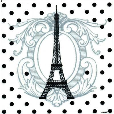 Serviette jetable Paviot blanche Tour Eiffel noire