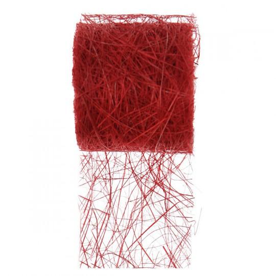 Ruban abaca rouge en rouleau de 5m x 7cm.
