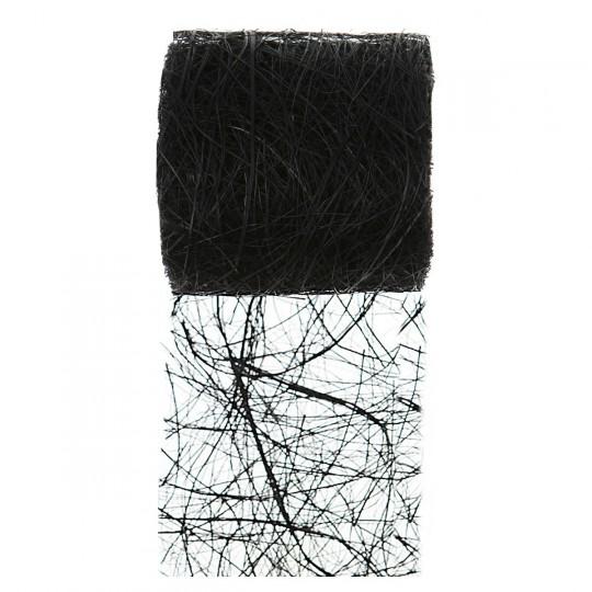 Ruban abaca noir en rouleau de 5m x 7cm.