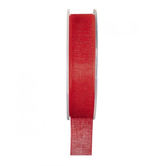 Ruban organza rouge 20 mètres x 6mm
