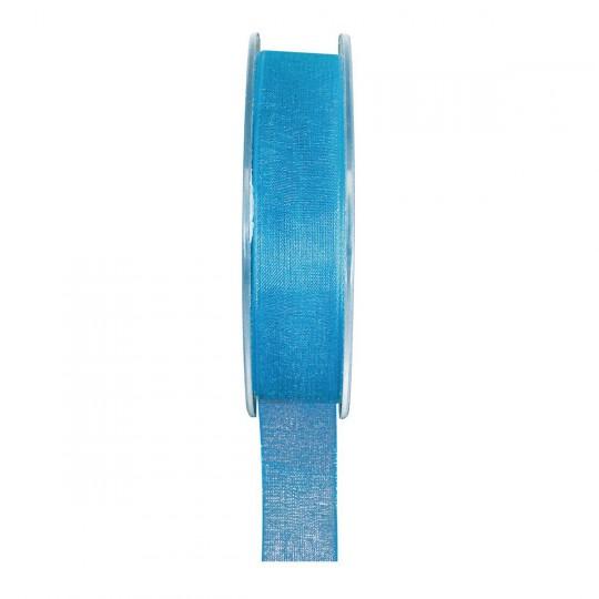 Ruban organza bleu turquoise 20 mètres x 6mm