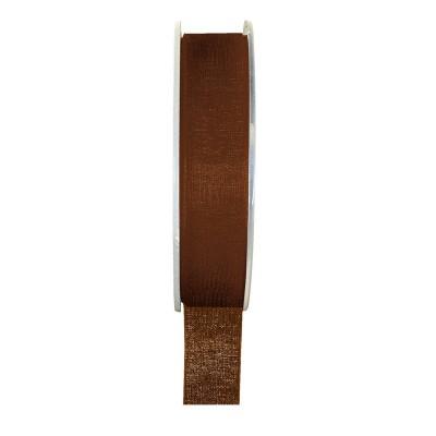 Ruban organza chocolat 20 mètres x 6mm