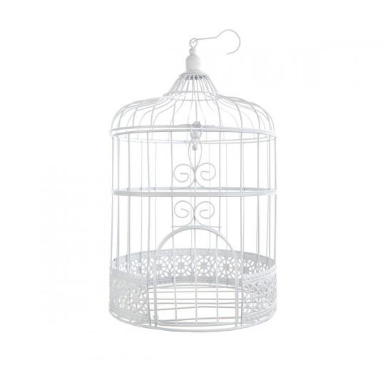Cage oiseau blanche.