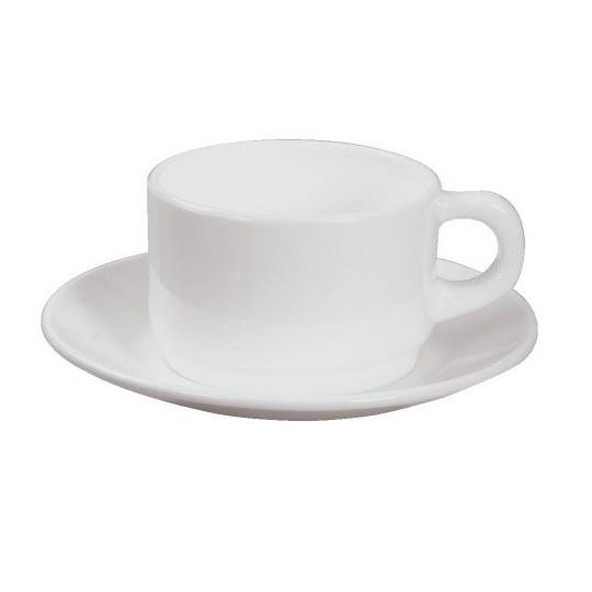 Soucoupe à petit déjeuner ronde blanche.