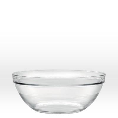 Saladier en verre empilable.