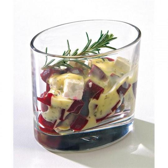Verrine Ellipse en verre. De forme ovale, elle permet toutes les fantaisies dans vos préparations de mise en bouche.