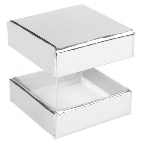 Boites à dragées cube argent x 6