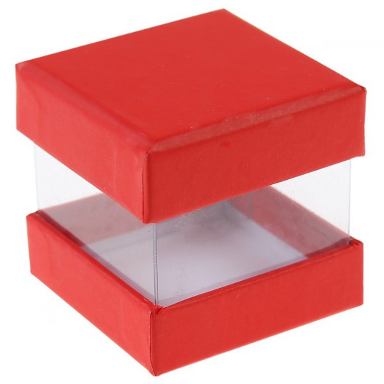 Boites à dragées cube rouge x 6