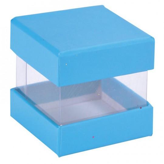 Boites à dragées cube bleu turquoise x 6