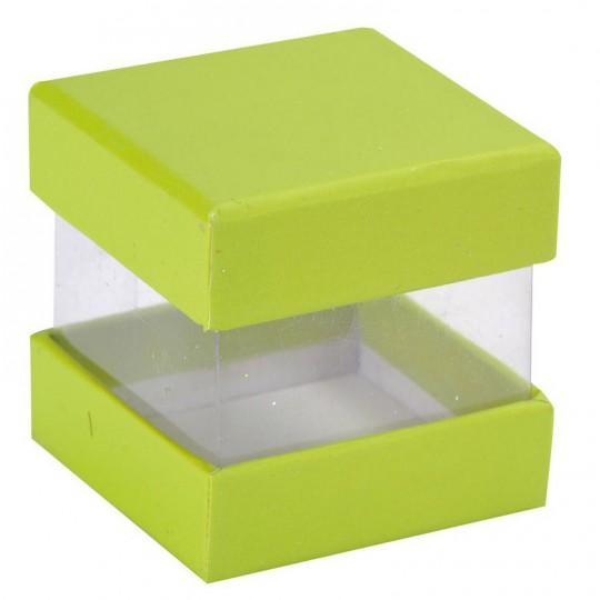 Boites à dragées cube verte x 6