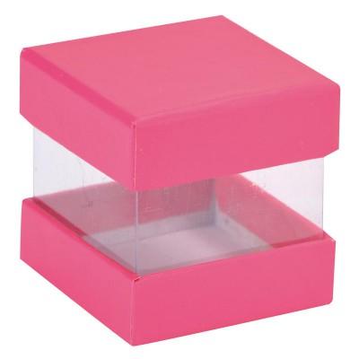 Boites à dragées cube fuchsia x 6
