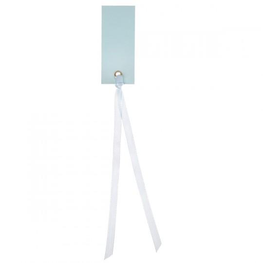 Marque place bleu ciel rectangle avec ruban