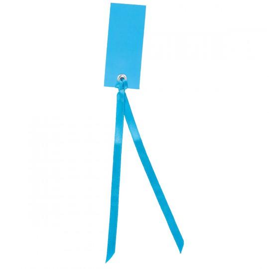 Marque place bleu turquoise rectangle avec ruban