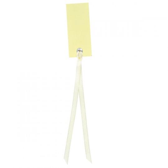 Marque place ivoire rectangle avec ruban