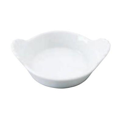 Mini plat à oeuf en porcelaine blanche.