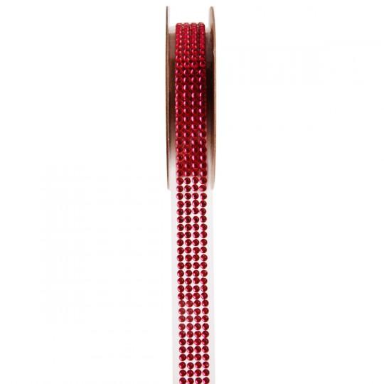Ruban strass rouge 1 mètre x 15 mm