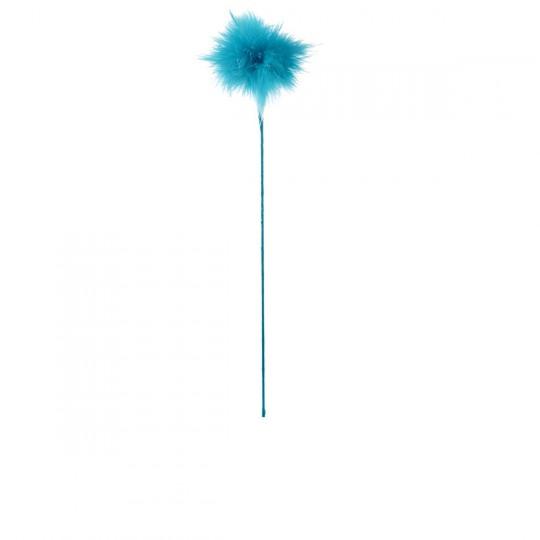 Plume duvet pomponnette bleu turquoise.