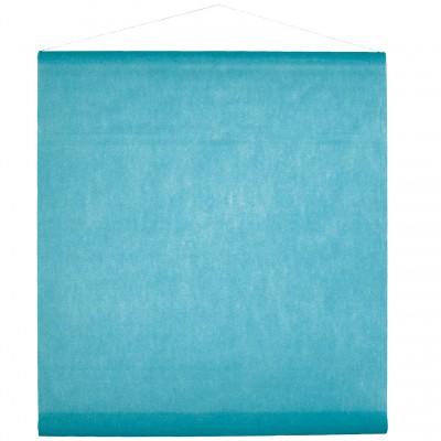 Tenture bleu turquoise pour la salle en intissé polyester.