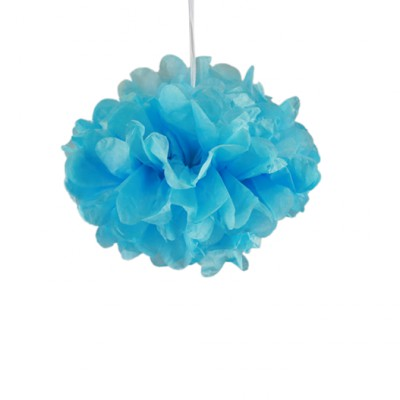 Pompons bleu turquoise 30cm x 2