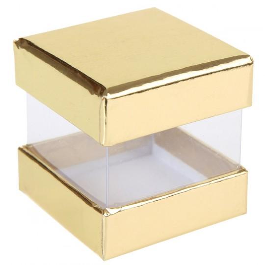 Boites à dragées cube or x 6