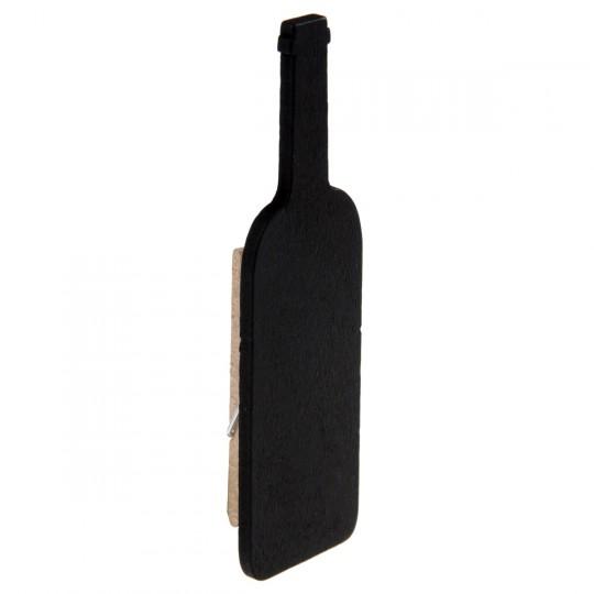 Ardoise forme bouteille 5 x 4 cm sur pince à linge en bois.